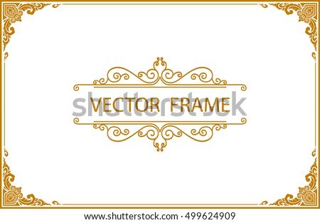 Gold photo frame with corner thailand line floral for picture, Vector design decoration pattern style.frame border design is pattern Thai style