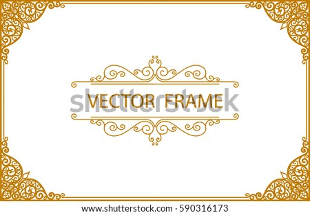 Gold photo frame with corner thailand line floral for picture, Vector design decoration pattern style. wood frame border design is patterned Thai style