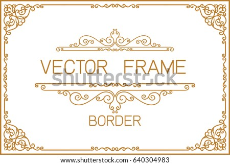 Gold Photo Frame With Corner Thailand Line Floral For Picture Vector Design Decoration Pattern Style Border