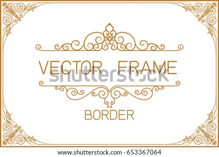Gold photo frame with corner thailand line floral for picture, Vector design decoration pattern style.frame border design is pattern