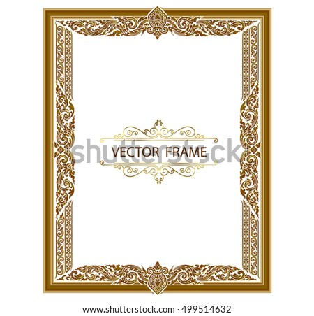 Gold photo frames with corner thailand line floral for picture, Vector frame design decoration pattern style. wood border design is patterned Thai style