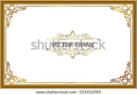 frame border design. Gold Photo Frames With Corner Thailand Line Floral For Picture, Vector Frame Design Decoration Pattern Border