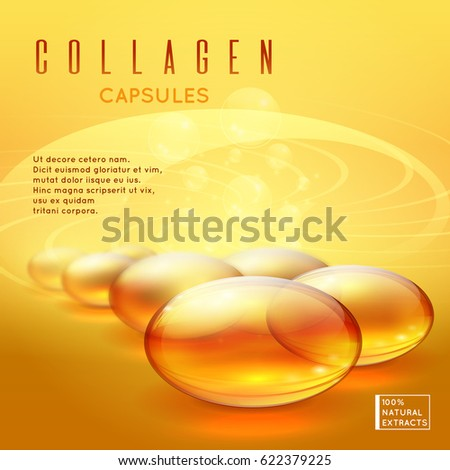 Gold pill vitamins, gold gel collagen capsule vector background for long strong hair and natural nails care advertising