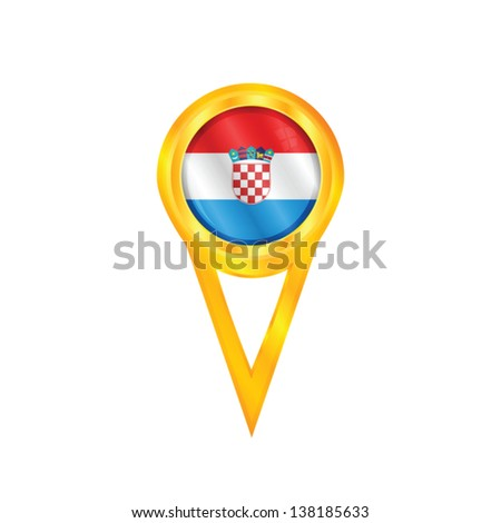 Gold pin with the national flag of Croatia