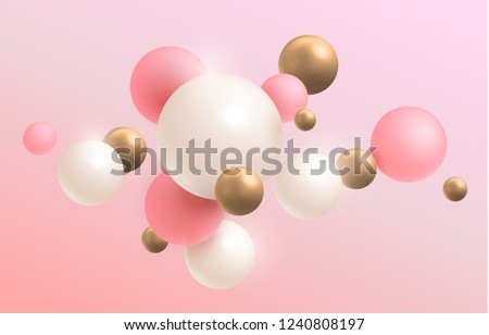 Gold, pink and white 3D balls. Vector illustration. Abstract modern design. eps 10