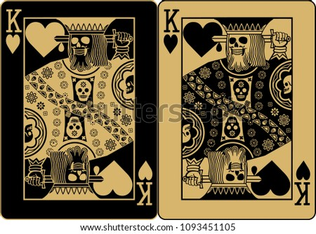 gold poker card king of heart