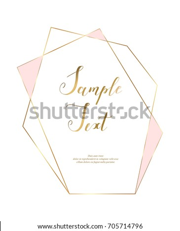 Gold polygonal frame. Gold glitter triangles, geometric shapes. Diamond shape. Minimal template for creative designs, card, invitation, party, birthday, wedding, anniversary, save the date, business.