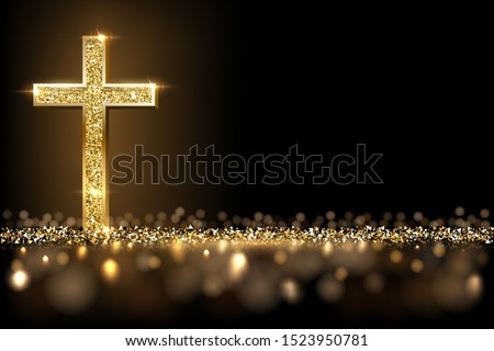 Gold prayer cross realistic vector illustration. Luxurious jewelry, elegant accessory under golden glitter rain. Precious metal jewel on black background. Christian faith, catholic religion symbol stock photo
