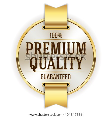 Gold premium quality badge, rosette with ribbon on white background