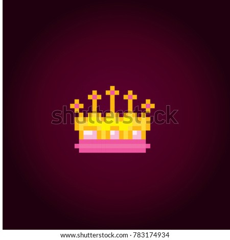 gold princess crown icon pixel