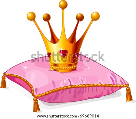 gold princess crown on the pink
