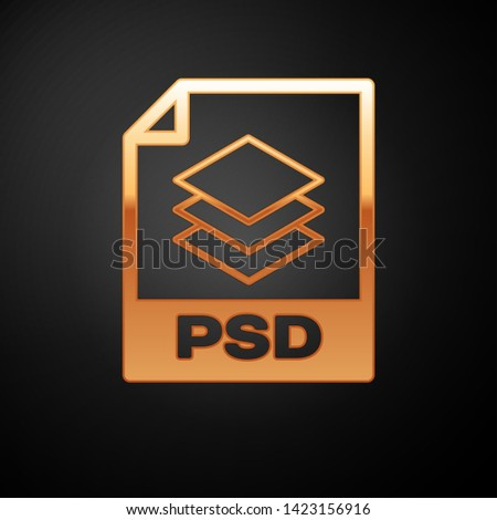 Gold PSD file document icon. Download psd button icon isolated on black background. PSD file symbol. Vector Illustration