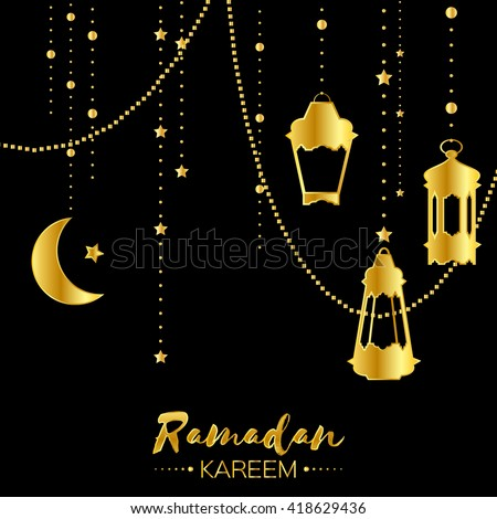 Gold Ramadan Kareem Celebration Greeting Card Hanging Arabic Lamps Stars And Crescent Moon