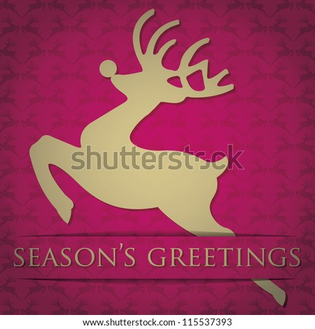 "Gold reindeer ""Season's Greetings"" card in vector format."
