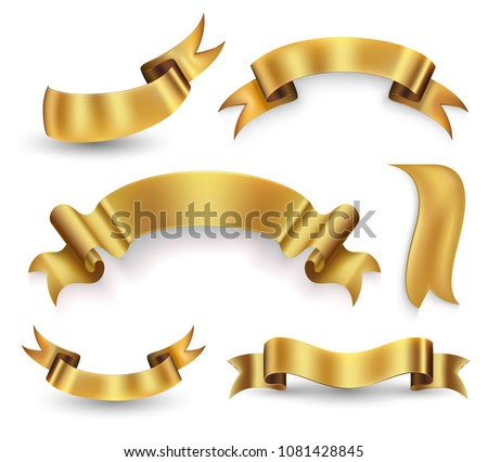 Gold ribbon banner set. Vector illustration.