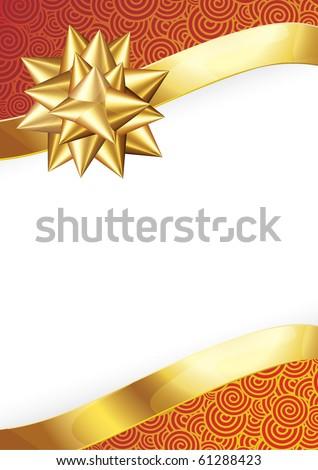 Gold ribbon bow. Vector.