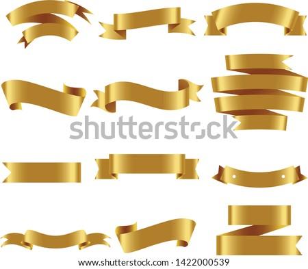 Gold Ribbon Set InIsolated White Background, Vector Illustration