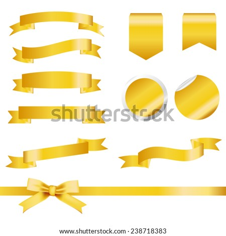 Gold Ribbons Set isolated On White Background. Vector Illustration