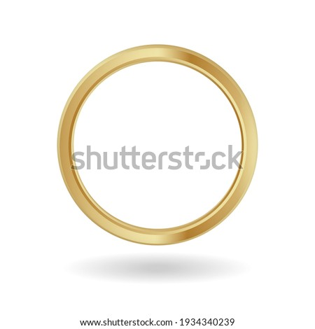 Gold ring frame. Yellow ornament metal banner with luxury round shape for image and avatars in social media vector. Photo stock ©