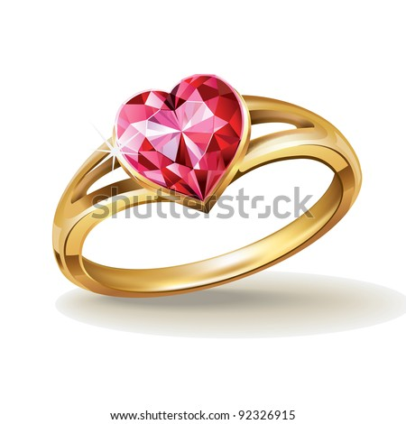 Gold ring with pink heart gemstone. Vector illustration.