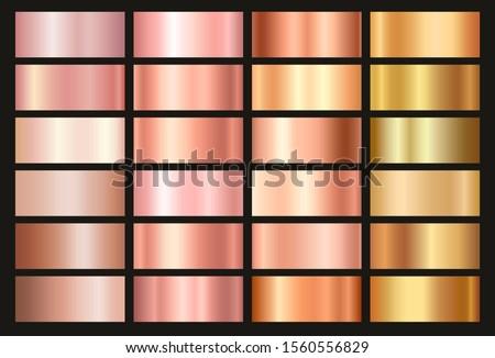 Gold rose, bronze and gold foil texture gradation background set. Vector golden elegant, shiny and metalic gradient collection for border, frame, ribbon, label design.
