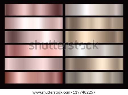 Gold rose, bronze, metal silver and gold texture set isolated on black background. Vector golden metallic gradient collection for gold pink or chrome border, frame, ribbon, label design.