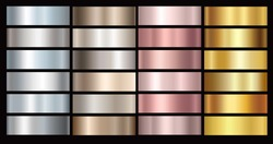 Gold rose, bronze, silver and gold foil texture gradation background set. Vector golden elegant, shiny and metalic gradient collection for chrome border, frame, ribbon, label design