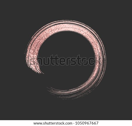 Gold rose foil brush stroke. Pink sparkle circle frame. Copper metal paint texture isolated on black background. Vector gold glitter mascara brushstroke border pattern.