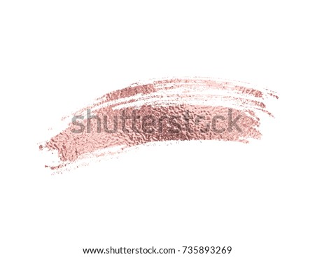 Gold rose foil brush stroke. Pink sparkle glossy scribble, grunge or copper smudge paint texture isolated on white background. Vector gold rose glitter mascara brushstroke border pattern. #735893269