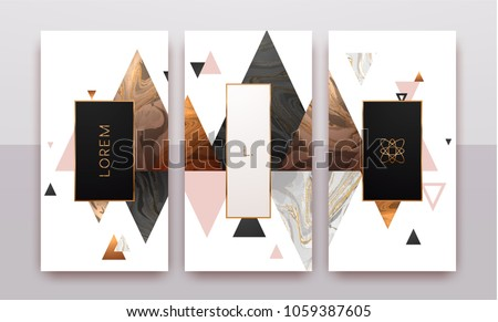 Gold, rose gold, black and white marble template, artistic covers design, colorful texture, geometric backgrounds. Trendy pattern, graphic poster, brochure, cards. Vector illustration.