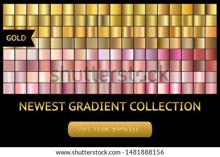Gold rose metal gradient chrome texture background set. Gold rose metal chrome texture vector icon foil background collection. Gold rose background for banner, ribbon, label. Gold rose shine design