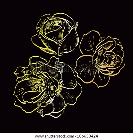 gold rose on black background