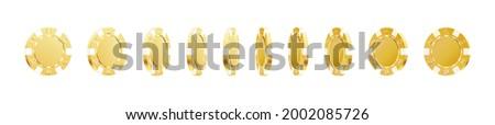 Gold rotating poker vip chips. Gambling game, casino 3d golden chips. Online gambling game clipart. Vector illustration Photo stock ©