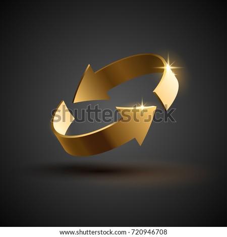Gold rotation arrows