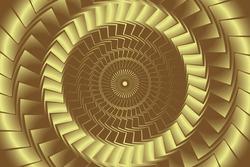 Gold round abstract vortex hypnotic spiral background. Abstract Curved Spiral Background. Geometric swirl background. Golden Metallic Rotating Hypnotic Pattern. 3d Abstract Lines Design.Vector EPS 10