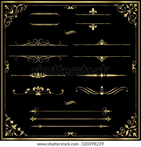 Gold Rule Lines and Ornaments - Set of vector text dividers and frame in gold.  Each element is grouped for easy editing.  Colors are a few global swatches; elements can be recolored easily.