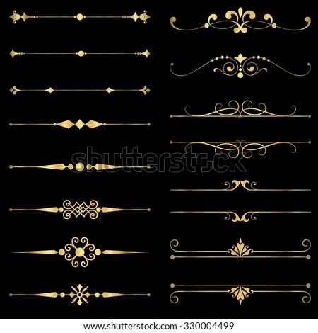 Gold Rule Lines and Ornaments - Set of vector text dividers and frame in gold.  File is layered, and each element is grouped separately for easy editing.