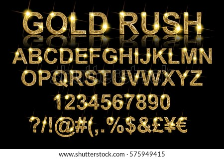 Gold rush. Gold alphabetic fonts and numbers on a black background. Vector illustration