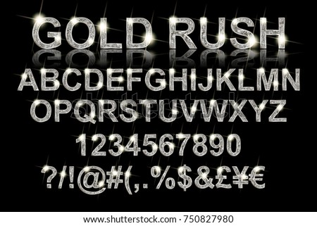 Gold rush. Silver alphabetic fonts and numbers on a black background. Vector illustration