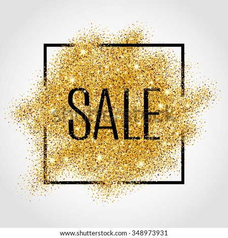 Gold sale background in frame. Yellow confetti foil flyer, poster, shopping, for selling sign, discount, marketing, shoping, banner, web, header. Abstract golden backdrop text, type, quote.