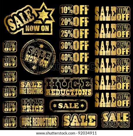 Gold sale now on, grungy rubber stamps