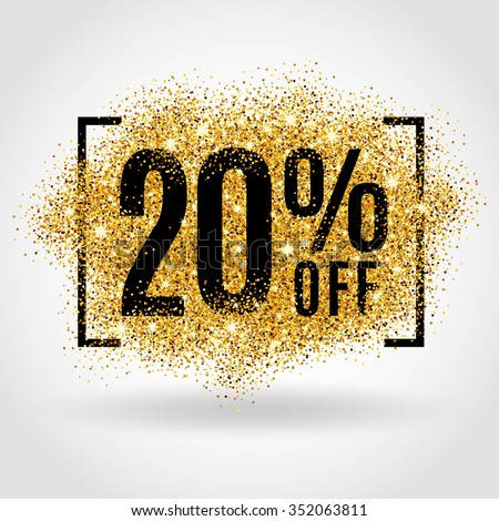Gold sale 20 percent. Golden sale 20% percent on gold background. Shine salling background for flyer, poster, shopping, for symbol sign, discount, selling, banner, web, header. Light blur backdrop #352063811