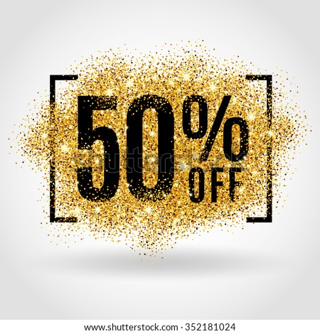 Gold sale 50 percent. Golden sale 50% percent on gold background. Shine salling background for flyer, poster, shopping, for symbol sign, discount, selling, banner, web, header. Light blur backdrop