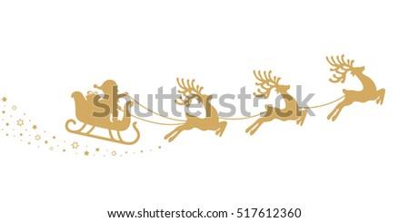 gold santa sleigh silhouette