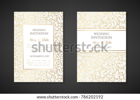 Gold scribbles. Wedding invitation templates. Cover design with ornaments. Vector decorative backgrounds with copy space.