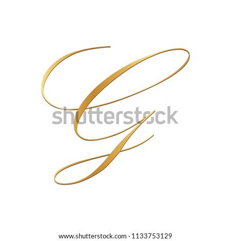gold script letter G