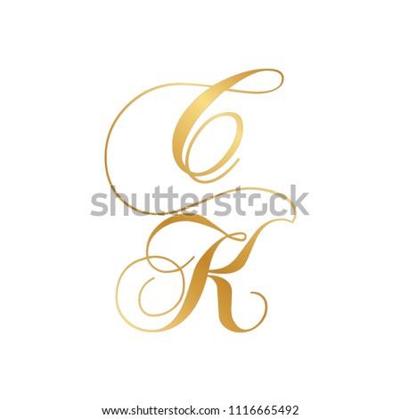 gold script letters C and K, monogram Stok fotoğraf ©