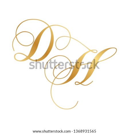 gold script monogram, letter d and letter h