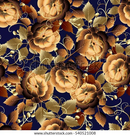 gold seamless pattern floral