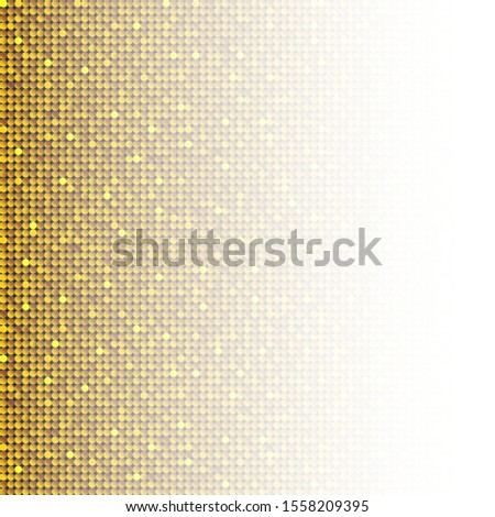 Gold sequins, glitters, sparkles, paillettes, mosaic background template. Abstract luxury halftone vector creative backdrop. Golden rounds with gradient trendy. Vibrant shiny dots glitter texture.